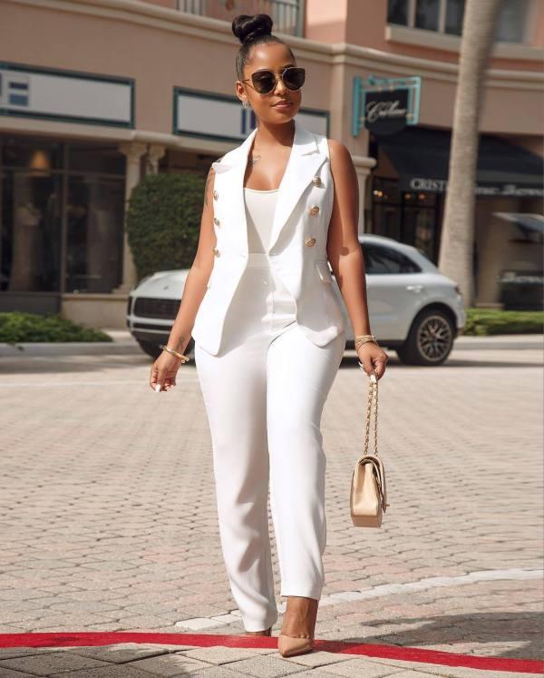 White OL Coat + Pant Sets 2 Piece AIL-032