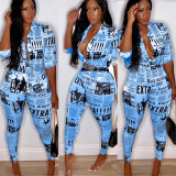 Newspaper Print Shirt Two Piece Pant Suit AIL-048