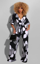 Casual Printed V Neck Sashes Jumpsuit SMD-2021