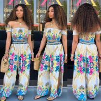 Off Shoulder Print Summer Two Piece Suit HMS-5221