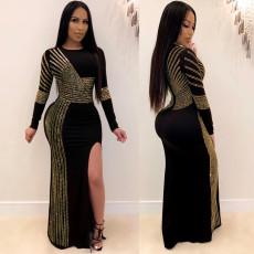 Sexy Rhinestone High Split Club Dress NY-8882