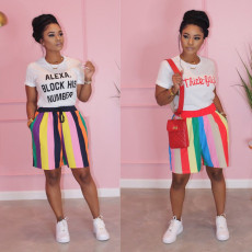 Colorful Stripe Shorts Set HMS-5283