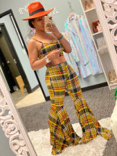 Plaid Print Flare Pants Two Piece Sets MN-9233