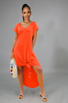 Solid Loose V Neck Short Sleeve Split Maxi Dress FSL-9023
