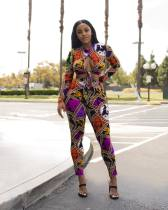 Sexy Printed Long Sleeve Two Piece Pant Suits AIL-014