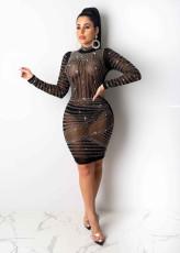 Sexy Sheer Rhinestone Long Sleeve Dress Nightclub NY-8865