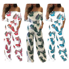 Off Shoulder Ruffle Loose Jumpsuit NK-8130