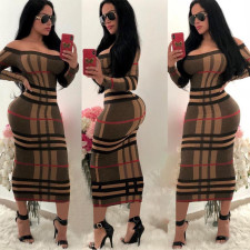 Plaid Slash Neck Long Sleeve Maxi Dress TE-3569