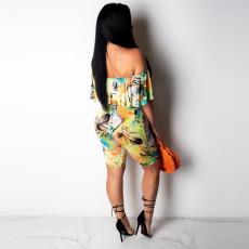 Floral Print Off Shoulder Two Piece Shorts Set NY-8745
