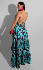 Beach Vacation Bohemian Backless Dress AIL-076