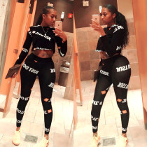 Letter Print Long Sleeve Tracksuit 2 Piece Sets AIL-004