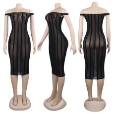 Sexy Mesh See Through Off Shoulder Club Dress NY-8711