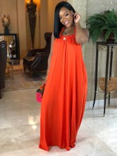 Solid Halter Backless Loose Maxi Dress AIL-021