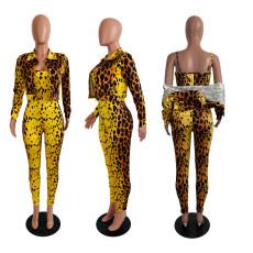 Leopard Jumpsuit And Short Coat 2 Piece Suit CHY-1215