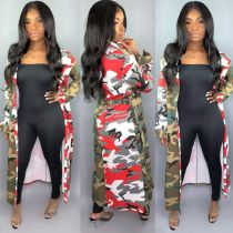 Camo Print Notched Collar Sashes Long Trench Coat HMS-5181