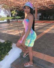 Tie Dye Print Strapless Bodycon Tube Dress WSM-5065