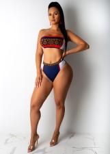 Sexy Printed Bandeau Bikinis Bathing Suit LUO-3011