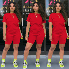 Solid Tracksuit Short Sleeve Two Piece Shorts Set TE-3779