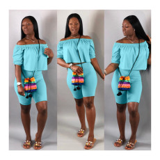 Solid Color Off Shoulder Two Piece Shorts Set LP-6139