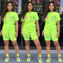 Plus Size Letter Print T Shirt Shorts Two Piece Sets HMS-5249