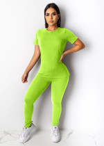 Solid Color T Shirt Long Pants 2 Piece Suit LUO-3024