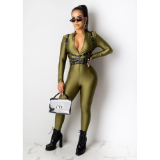 Solid Long Sleeve Front Zipper Skinny Jumpsuit CHY-1198