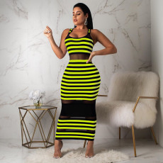 Sexy Striped Mesh Patchwork Sleeveless Maxi Dress YD-8093