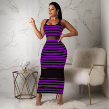 Sexy Striped Mesh Patchwork Sleeveless Maxi Dress YD-8093