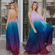 Sexy Chiffon Halter Backless Pleated Maxi Dress LSD-8052