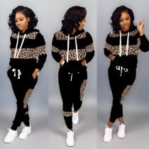 Plus Size Leopard Stitching Hooded Sweatshirt Two-piece LSD-8626