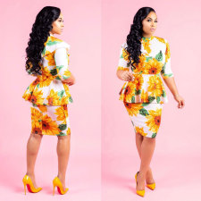 Sunflower Print Half Sleeve Peplum Dress LSD-8123