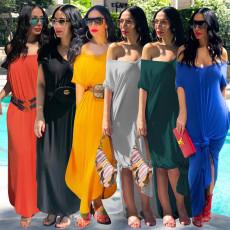 Solid Color Split Summer Long Dress AL-091