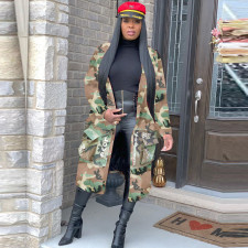 Plus Size Camo Print Notched Collar Long Coats SH-3726