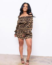 Sexy Leopard Print Slash Neck Waist Mini Dress RSN-726