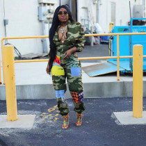 Plus Size Casual Camo Printed Long Sleeve Jumpsuits LSD-8209