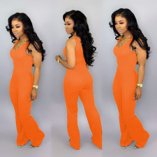 Plus Size Fashion Sexy Sleeveless Solid Color Wide Leg Flare Jumpsuit YNT-7078
