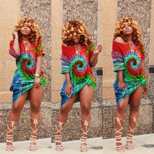 Plus Size Tie Dye Print Oblique Collar Dress LDS-3163