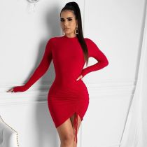 Solid Drawstring Ruched Long Sleeve Bodycon Dress ML-7273