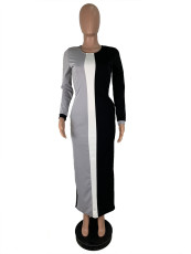 Casual Spliced Long Sleeve O Neck Maxi Dress ML-7256
