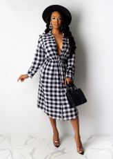 Casual Plaid Long Sleeve Midi Shirt Dress ML-7272