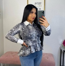 Snake Skin Print Ruffed Long Sleeve Peplum Tops ML-7259