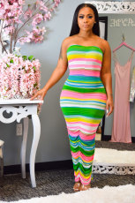 Colorful Stripe Ruched Strapless Bodycon Maxi Tube Bress ML-7224