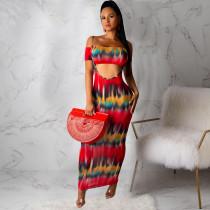 Tie Dye Print Tube Top Strap Maxi Skirt 2 Piece Sets ML-7225