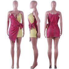Sexy Two-tone Check Camisole Dress ME2-5024