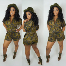 Plus Size Camo Print Short Sleeve Rompers ML-7174