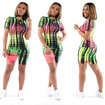 Plus Size Casual Printed Short Sleeve 2 Piece Shorts Set TR-1008