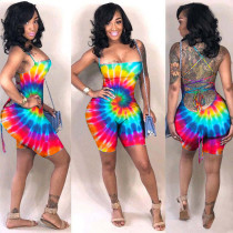 Plus Size Tie Dye Printed Backless Playsuit ASL-6100
