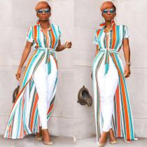Colorful Stripe Short Sleeve Long Shirt Dress ASL-6138