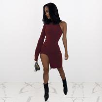 Sexy One Shoulder Irregular Club Dress NIK-095