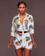 Plus Size Printed Shirt Dress SMR-8847
